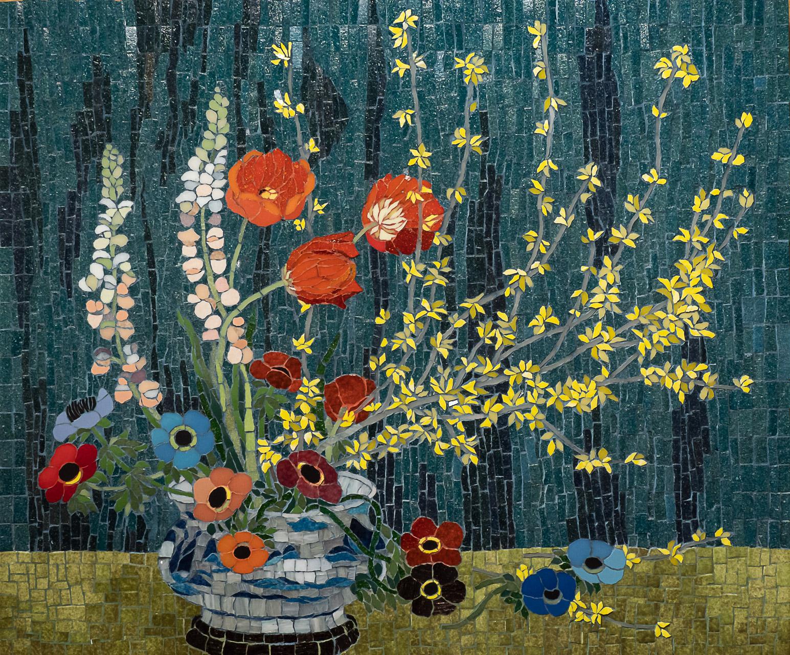 D'après Vase de forsythias (gouache sur soie, 1975) de Mai Trung Thu